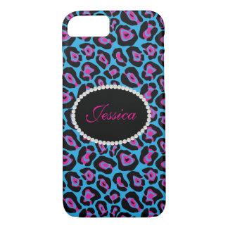 Capa iPhone 8/ 7 Telefone do monograma do impressão do leopardo &
