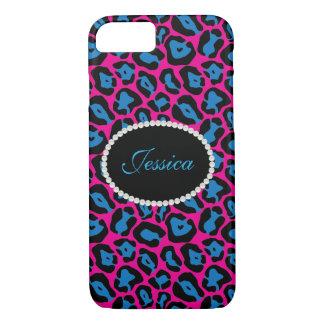 Capa iPhone 8/ 7 Telefone do monograma do impressão do leopardo de