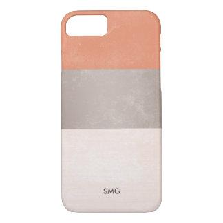 Capa iPhone 8/ 7 Terracotta & cinzas de prata Monogrammed