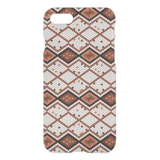 Capa iPhone 8/7 Teste padrão abstrato da Cobra-Pele em Brown & em