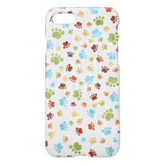 Capa iPhone 8/7 Teste padrão animal colorido bonito das pegadas