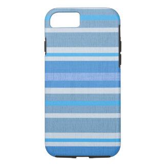 Capa iPhone 8/ 7 Teste padrão azul listrado do tecido de algodão