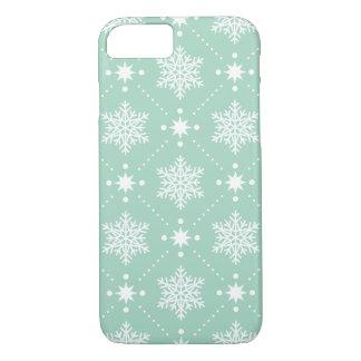 Capa iPhone 8/ 7 Teste padrão branco verde do Natal dos flocos de