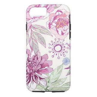 Capa iPhone 8/ 7 Teste padrão com flores cor-de-rosa