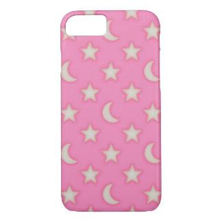 Capa iPhone 8/ 7 Teste padrão cor-de-rosa das estrelas e das luas