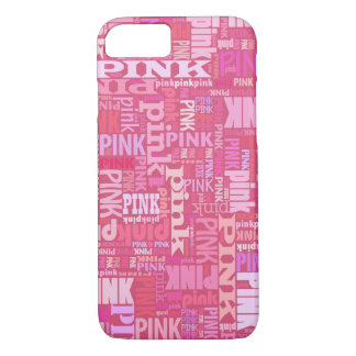 Capa iPhone 8/ 7 Teste padrão cor-de-rosa escuro do texto para
