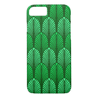 Capa iPhone 8/ 7 Teste padrão da pena do art deco, verde esmeralda