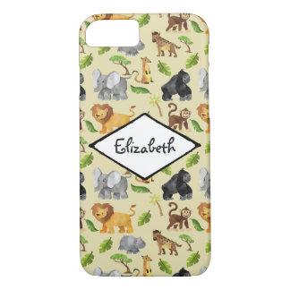 Capa iPhone 8/ 7 Teste padrão da selva do safari do animal selvagem