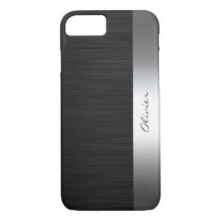 Capa iPhone 8/ 7 teste padrão de aço inoxidável preto com nome