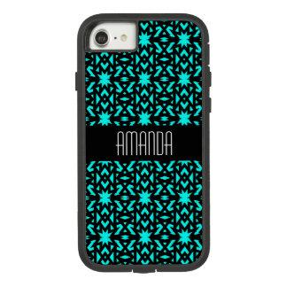 Capa iPhone 8/ 7 Teste padrão de estrela azul brilhante do Aqua