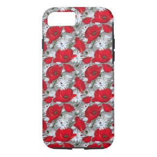 Capa iPhone 8/ 7 Teste padrão de flores vermelho lindo do verão das