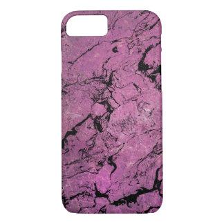 Capa iPhone 8/ 7 teste padrão de mármore cor-de-rosa e preto