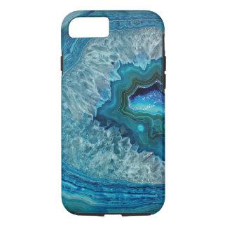 Capa iPhone 8/ 7 Teste padrão de mármore de Geode de turquesa