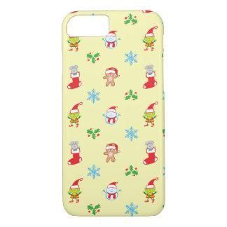 Capa iPhone 8/ 7 Teste padrão do Natal do rato, do boneco de neve,