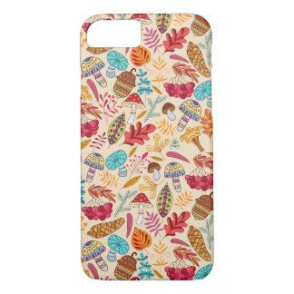 Capa iPhone 8/ 7 Teste padrão do outono com folhas, cogumelos,