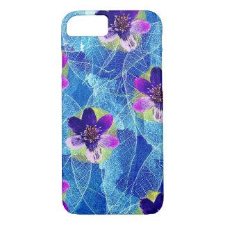 Capa iPhone 8/ 7 Teste padrão floral artística roxo e azul bonito