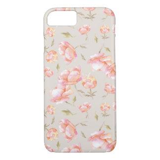 Capa iPhone 8/ 7 Teste padrão floral da aguarela - peônias