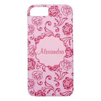 Capa iPhone 8/ 7 Teste padrão floral da estrutura de rosas de chá
