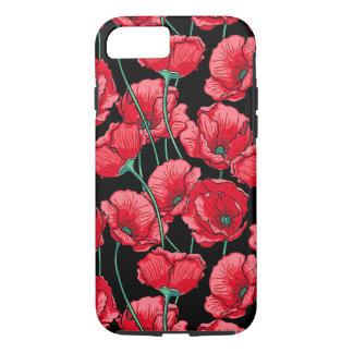 Capa iPhone 8/ 7 Teste padrão floral da flor vermelha da papoila