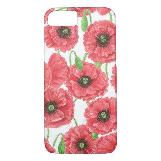 Capa iPhone 8/ 7 Teste padrão floral das papoilas da aguarela