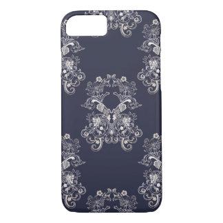 Capa iPhone 8/ 7 teste padrão floral do marinho do estilo barroco
