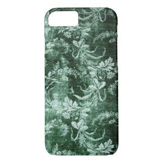 Capa iPhone 8/ 7 Teste padrão floral do vintage do Grunge em verde