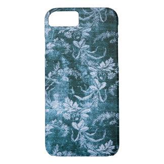 Capa iPhone 8/ 7 Teste padrão floral do vintage do Grunge no azul