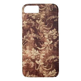 Capa iPhone 8/ 7 Teste padrão floral do vintage do Grunge no marrom