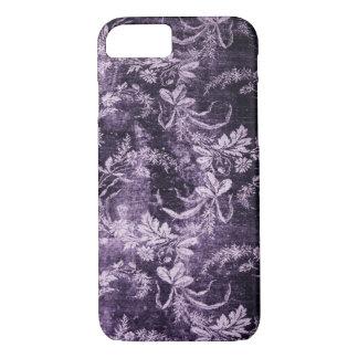 Capa iPhone 8/ 7 Teste padrão floral do vintage do Grunge no roxo