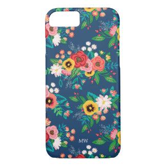 Capa iPhone 8/ 7 Teste padrão floral popular de Boho - monograma