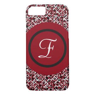 Capa iPhone 8/ 7 Teste padrão floral preto & branco vermelho