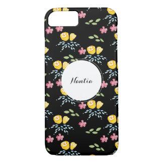 Capa iPhone 8/ 7 Teste padrão floral preto com nome de etiqueta