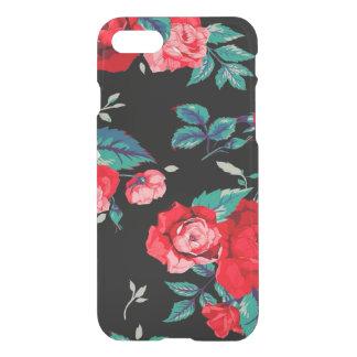 Capa iPhone 8/7 Teste padrão floral sem emenda com preto das rosas