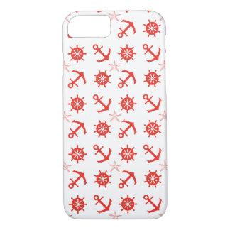 Capa iPhone 8/ 7 Teste padrão náutico vermelho