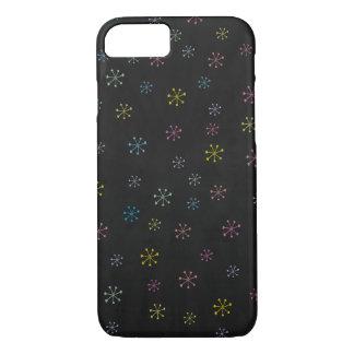 Capa iPhone 8/ 7 Teste padrão preto bonito do Doodle da flor