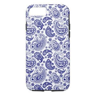 Capa iPhone 8/ 7 Teste padrão retro azul & branco do presunto de