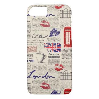Capa iPhone 8/ 7 Teste padrão sem emenda temático de Londres com