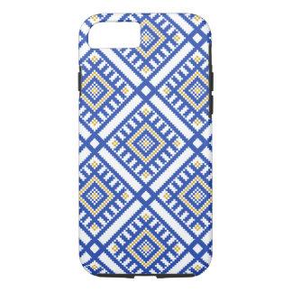 Capa iPhone 8/ 7 Teste padrão tradicional azul da geometria