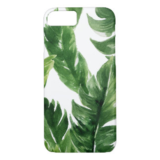 Capa iPhone 8/ 7 Teste padrão tropical verde das folhas da aguarela
