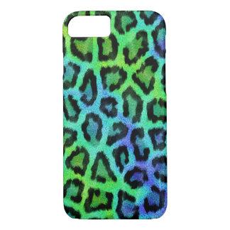 Capa iPhone 8/ 7 Teste padrão verde e azul elegante do leopardo