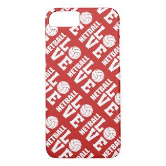 Capa iPhone 8/ 7 Teste padrão vermelho do amor do Netball