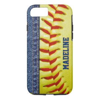 Capa iPhone 8/ 7 Teste padrão vermelho do ponto do softball amarelo