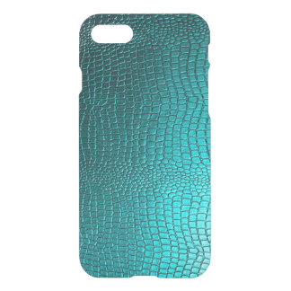 Capa iPhone 8/7 Textura da pele de cobra do azul de turquesa