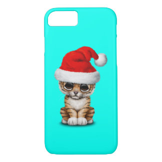 Capa iPhone 8/ 7 Tigre Cub bonito que veste um chapéu do papai noel