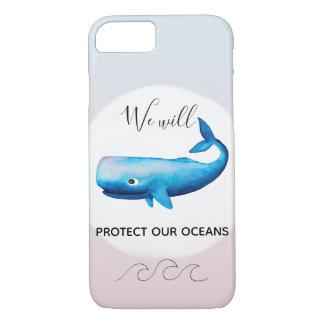 Capa iPhone 8/ 7 Tipografia marinha da baleia de Ombre da