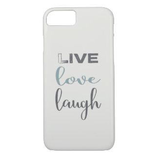 Capa iPhone 8/ 7 Tipografia viva do riso do amor do azul cinzento