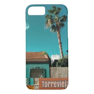 Capa iPhone 8/ 7 Torrevieja na laranja e na turquesa