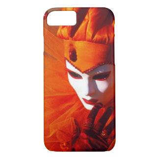 Capa iPhone 8/ 7 Traje alaranjado do Harlequin - carnaval de Veneza
