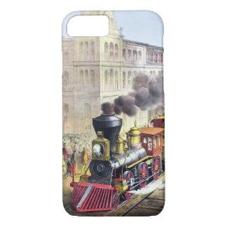Capa iPhone 8/ 7 Trens do vapor, estação, caso do vintage da