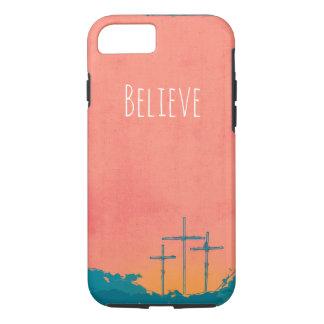 Capa iPhone 8/ 7 Três cruzes no coral & no azul